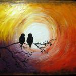x birds on tree circle sun
