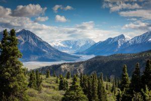 peaceful mountain lake scene